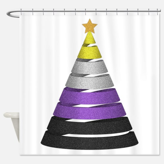 Non-Binary Glitter Christmas Tree Shower Curtain