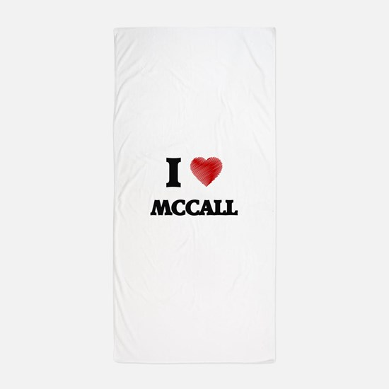 I Love Mccall Beach Towel