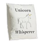 Unicorn Whisperer Burlap Throw Pillow