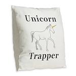 Unicorn Trapper Burlap Throw Pillow