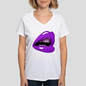 Glossy Purple Lips Glam Sexy Kiss T-Shirt