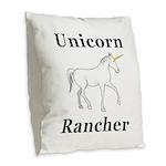 Unicorn Rancher Burlap Throw Pillow