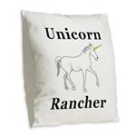 Unicorn Rancher Burlap Throw Pillow