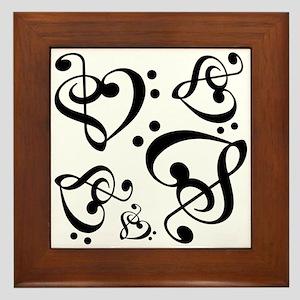 Clef Heart Music Notes Pattern Framed Tile