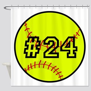 Softball with Custom Player Number Shower Curtain