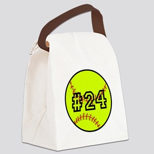 Softball with Custom Player Numbe Canvas Lunch Bag