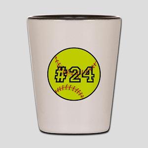 Softball with Custom Player Number Shot Glass