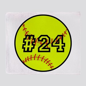 Softball with Custom Player Number Throw Blanket