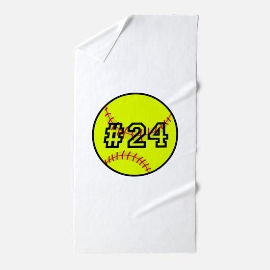 Softball with Custom Player Number Beach Towel