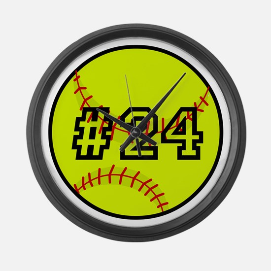 Softball with Custom Player Numbe Large Wall Clock