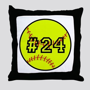 Softball with Custom Player Number Throw Pillow