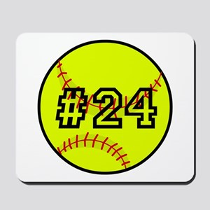 Softball with Custom Player Number Mousepad