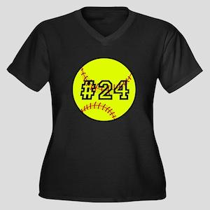 Softball wit Women's Plus Size V-Neck Dark T-Shirt
