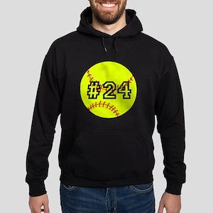 Softball with Custom Player Number Hoodie (dark)