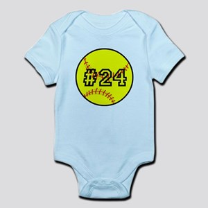 Softball with Custom Player Number Infant Bodysuit