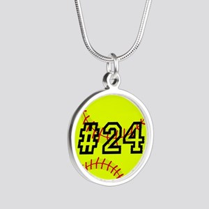 Softball with Custom Player Silver Round Necklace