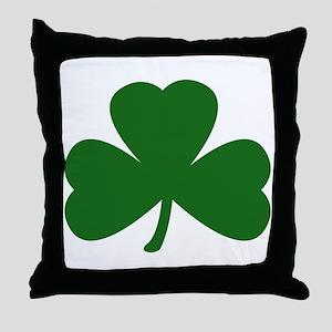 Green Shamrock Throw Pillow