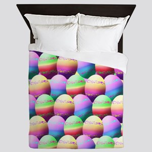 Colorful Easter Eggs Pattern Queen Duvet