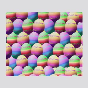 Colorful Easter Eggs Pattern Throw Blanket