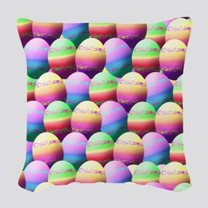 Colorful Easter Eggs Pattern Woven Throw Pillow