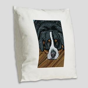 Bernese Mountain Dog Burlap Throw Pillow