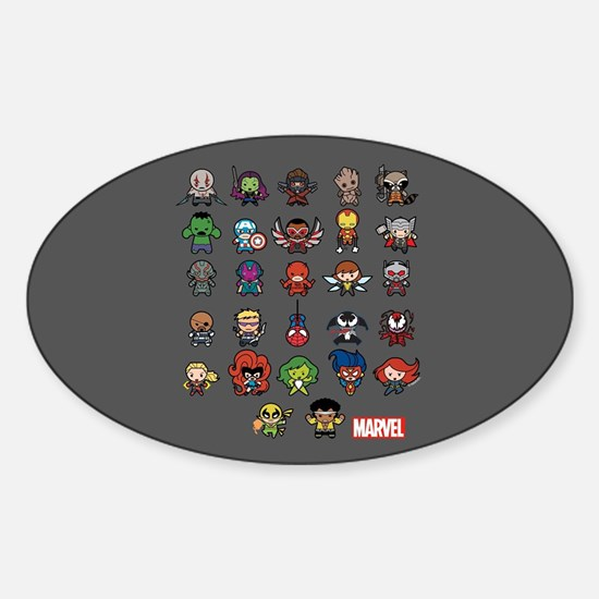 Marvel Kawaii Heroes Sticker (Oval)