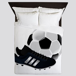 Soccer Ball And Shoes Queen Duvet