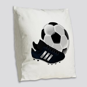 Soccer Ball And Shoes Burlap Throw Pillow