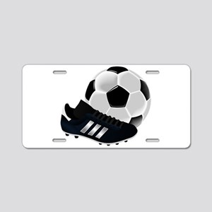Soccer Ball And Shoes Aluminum License Plate