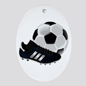 Soccer Ball And Shoes Oval Ornament