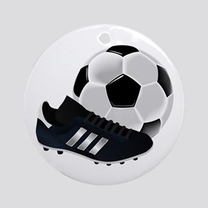 Soccer Ball And Shoes Round Ornament