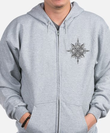 Symmetry, a Diatom by Ernst Haeckel Zip Hoodie