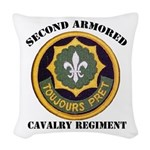 SECOND ARMORED CAVALRY REGIMEN Woven Throw Pillow