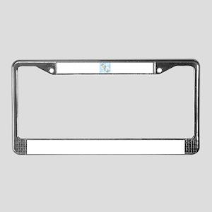 C Monogram 19thC Peony License Plate Frame