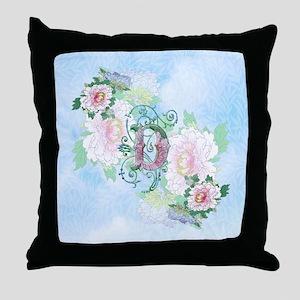 D Monogram 19thC Peony Throw Pillow