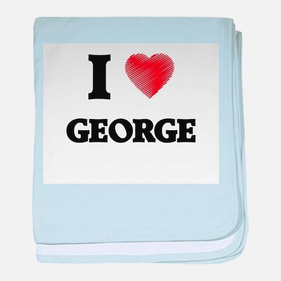 I Love George baby blanket