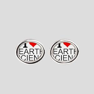 I Love Earth Science Oval Cufflinks