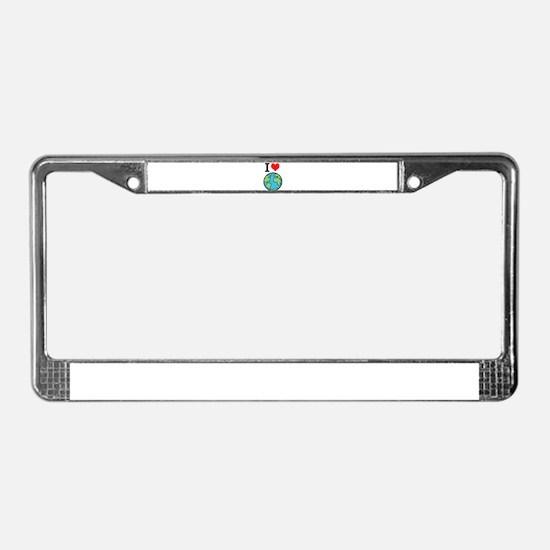 I Love Earth License Plate Frame