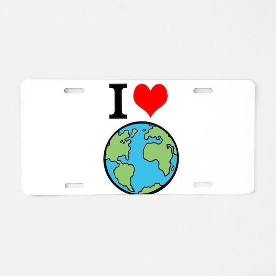I Love Earth Aluminum License Plate