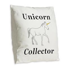 Unicorn Collector Burlap Throw Pillow