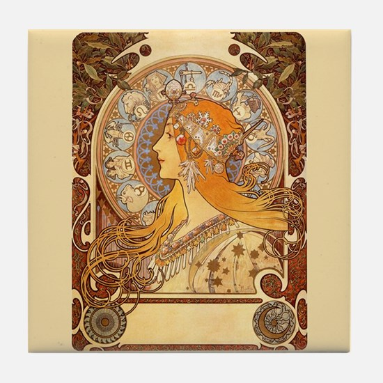 Alphonse Mucha Art Tile Coaster - Zodiac