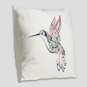 Hummingbird Burlap Throw Pillow