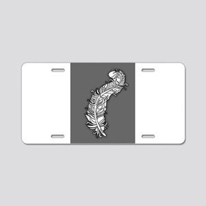 Fancy Fun and Funky Feather Aluminum License Plate