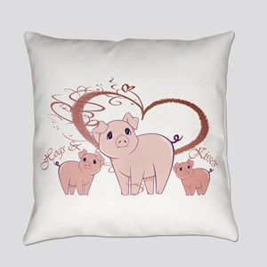Hogs And Kisses Cute Piggies Art Everyday Pillow
