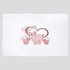 Hogs and Kisses Cute Piggies art 4' x 6' Rug