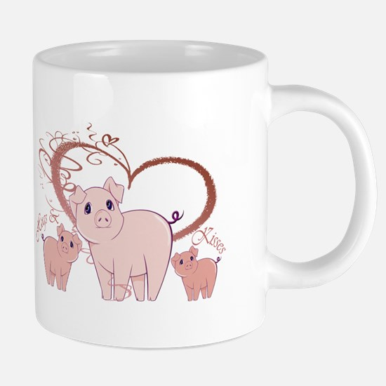Hogs and Kisses Cute Piggies art Mugs
