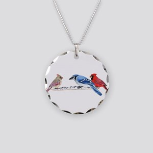 Birds in the Snow Necklace Circle Charm