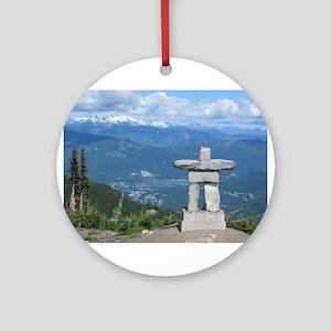 Inukshuk Whistler Round Ornament