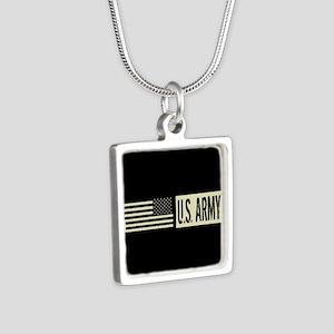 U.S. Army: U.S. Army (Blac Silver Square Necklace