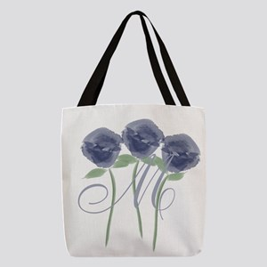 Pretty Blue Roses Monogram Polyester Tote Bag